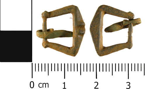WMID-5A5669: Medieval: Complete single loop trapezoidal buckle frame and pin