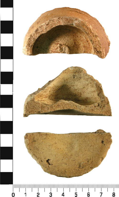 WMID-713AD4: Late Medieval to Early Post Medieval: Incomplete base sherd from a wheel thrown ceramic vessel