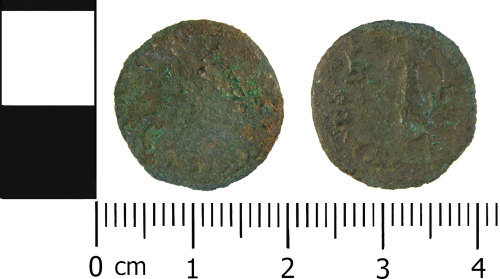 WMID-BE51E8: Roman coin: Probable radiate, probably of Tetricus I