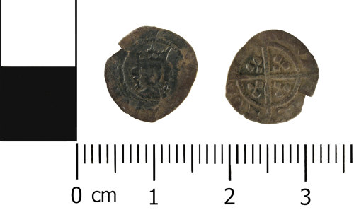 WMID-CDA256: Medieval coin: Incomplete halfpenny of Edward IV