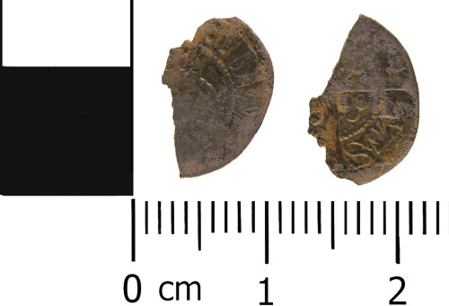WMID-E406C2: Medieval coin: Incomplete halfpenny, probably of Edward II