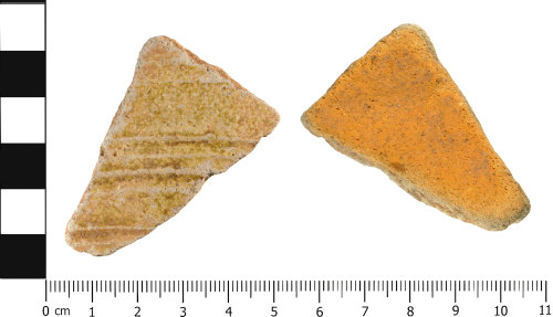 WMID-F341E5: Medieval: Body sherd from a local glazed earthenware jug