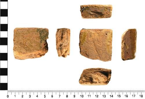 WMID-73BB9E: Medieval: Incomplete glazed floor tile