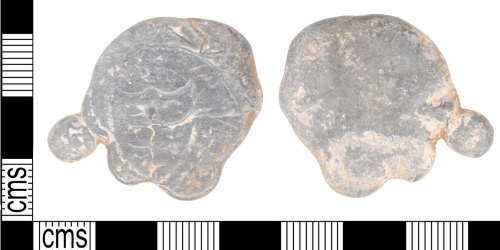 A resized image of Post medieval lead blob stamped with a Halfpenny 'Cinque Port' token of Faversham Dated 1794