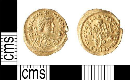 KENT-B66422: A gold Byzantine Tremissis of Anastius I
