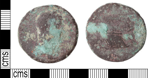 KENT-BC093E: A heavily worn sestertius possibly Hadrian