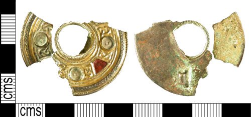 Anglo-Saxon Keystone garnet brooch from Eastry in Kent. PAS database record number KENT4547