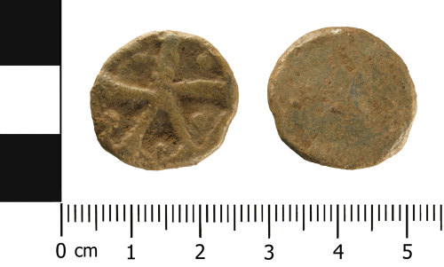 WMID-0964CD: Medieval to Post Medieval lead token (obverse and reverse)