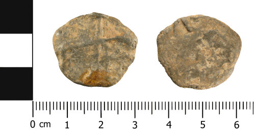 WMID-3431F9: Medieval to Post-Medieval lead token (obverse and reverse)