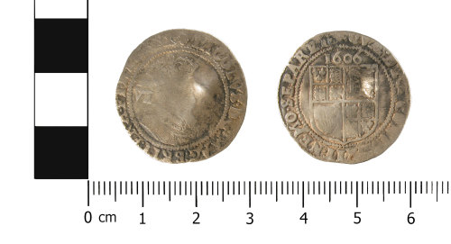 WMID-43996F: Post Medieval silver sixpence of James I (obverse and reverse)