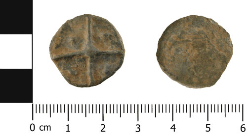 A resized image of Medieval to Post Medieval Lead token (obverse and reverse)