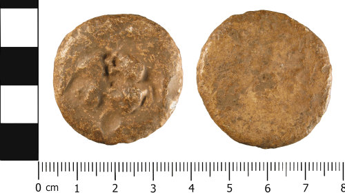 A resized image of Medieval or Post Medieval lead alloy weight or token (obverse and reverse)