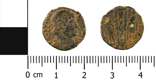 WMID-4E98D5: Roman coin: nummus of House of Constantine (obverse and reverse)