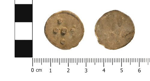 WMID-51D858: Post Medieval lead alloy token (obverse and reverse)