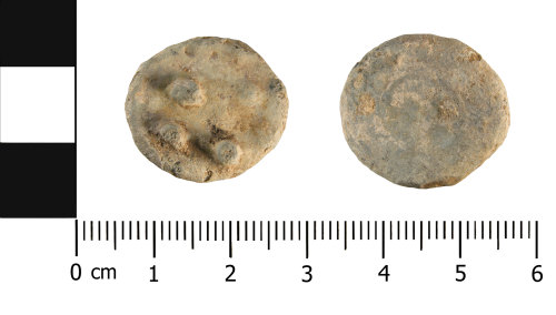 WMID-6F1711: Post Medieval lead token (front and reverse)