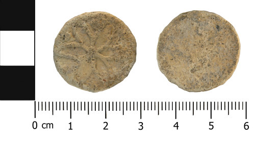 WMID-6FB3A2: Post Medieval lead token (front and reverse)