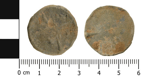A resized image of Medieval - Post Medieval lead alloy token (front and reverse)