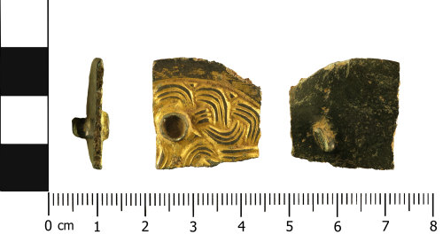 WMID-9DFF52: Early Medieval brooch fragment )profile, front, reverse)