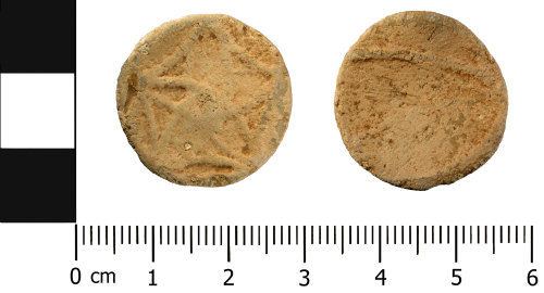A resized image of Late Medieval to Early Post Medieval lead alloy token (front and reverse)