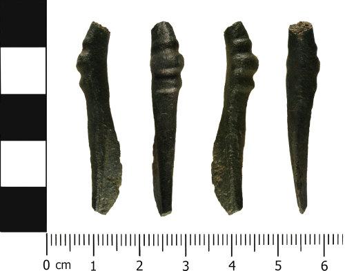WMID-B34C93: Roman Trumpet brooch fragment (front, profile, reverse, profile)