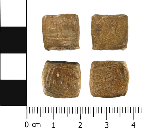 WMID-C42AE9: Post-medieval or early Modern bag seal (front and reverses x 2)