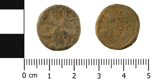 A resized image of Medieval - Post Medieval lead alloy tokens (front and reverse)