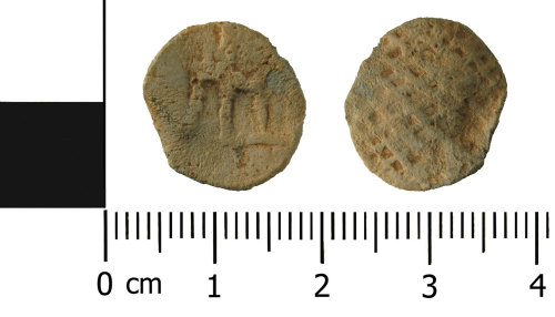 WMID-D8AE2A: Medieval to Post Medieval lead token (front and reverse)