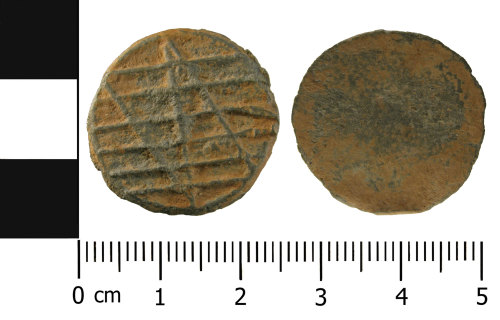 A resized image of Medieval to Post Medieval lead token (front and reverse)