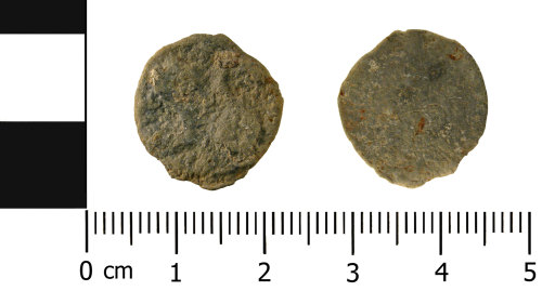 A resized image of Medieval - Post Medieval lead alloy token s (front and reverse)