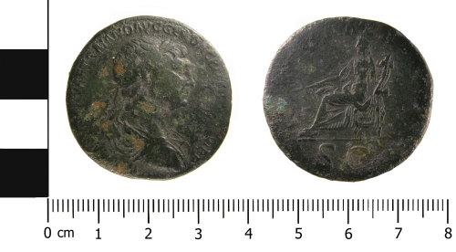 WMID-E6F134: roman coin: Sestertius of Trajan (obverse and reverse)