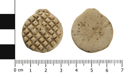 WMID-FA0E26: Post Medieval lead token (obverse and reverse)