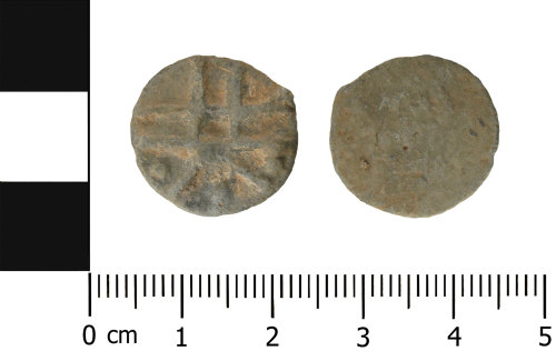 WMID-FA3356: Post Medieval lead token (obverse and reverse)