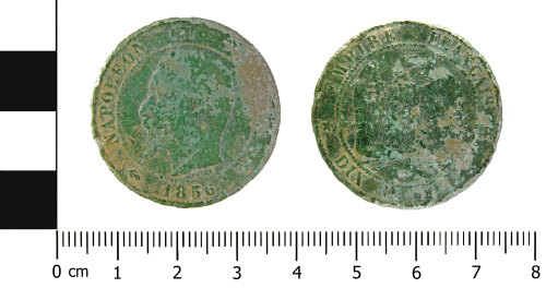 WMID-FFF0A8: Late Post Medieval dix centime coin: Napoleon III (obverse and reverse)
