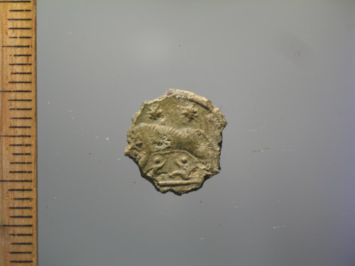 A resized image of Roman coin : copy of a nummus of the House of Constantine, VRBS ROMA (reverse)