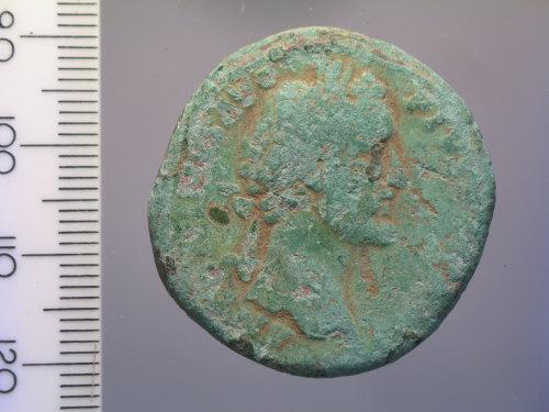 BM-99A8EC: Roman coin: sestertius of Antoninus Pius (obv.)