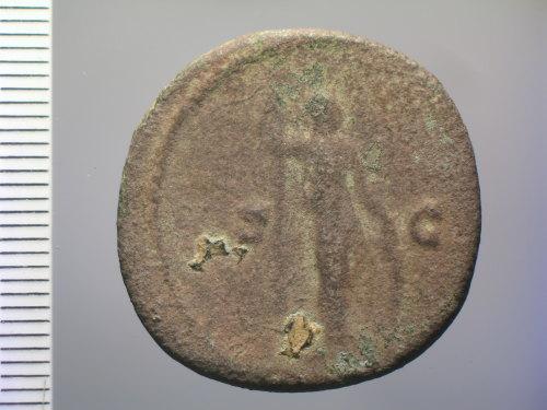 A resized image of Roman coin: dupondius or as of Marcus Aurelius Caesar (rev.)