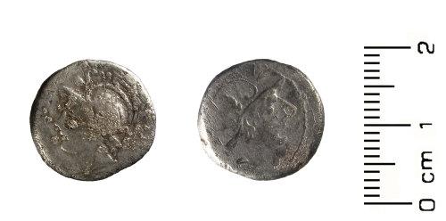 HESH-0FF90C: Roman Coin: denarius of L. Iulius Caesar (obverse and reverse)