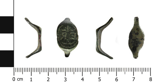 HESH-187A6D: post medieval or early modern finger ring (profile, front, profile, reverse)sh