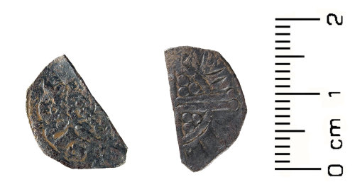 HESH-4FDA72: Medieval Coin: cut half of Henry II (obverse and reverse)