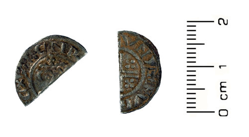 HESH-4FDC0C: Medieval coin: cut penny of John (obverse and reverse)