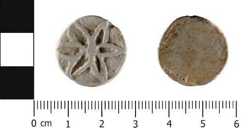HESH-65C4EC: later medieval or post-medieval lead alloy token (obverse and reverse)