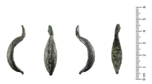 HESH-66219E: Iron age La Tène I brooch (profile, front, profile, reverse)h