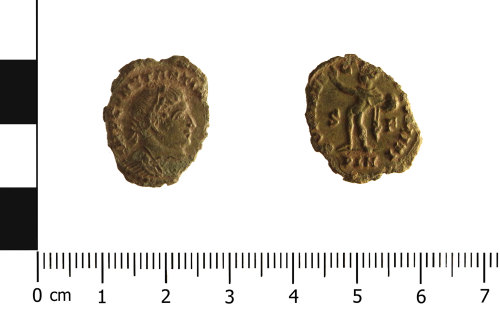HESH-CFF86B: Roman Coin: nummus of Constantine I (obverse and reverse)