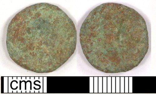 LVPL-0E2095: Copper alloy Roman numus coin of unknown ruler.