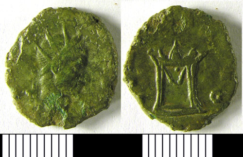 LVPL-0FA336: Copper alloy radiate coin of Claudius II, (268-270AD).
