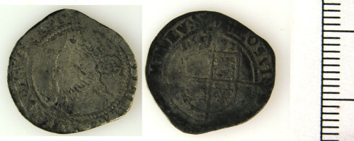 LVPL-46F286: Silver theepence of Elizabeth I, (1558-1603).