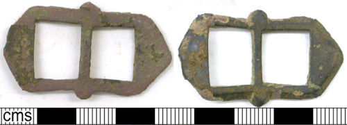 LVPL-A16A27: Post-Medieval cast copper alloy double loop trapezoidal buckle