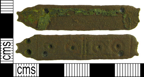 LVPL-AC2720: Cast copper alloy strap end dating to the Early-Medieval period.