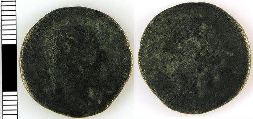 LVPL-D7E9B4: Roman coin, c. AD 41-250, probably an As.