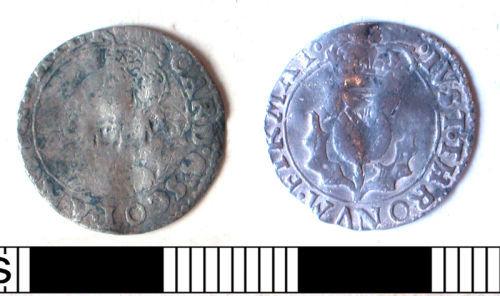 LVPL-DBFBB7: Charles I silver twenty pence coin